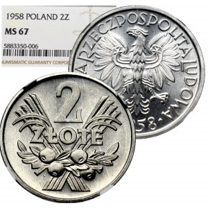 People's Republic of Poland, 2 zlote 1958 - NGC MS67