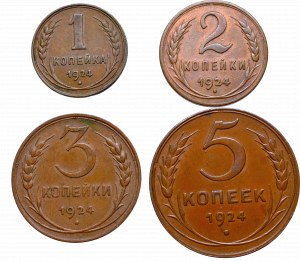 Soviet Union, Lot 1-5 kopecks 1924