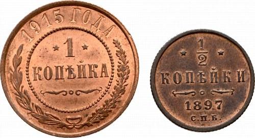 Russia, Nicholas II, 1 kopeck 1915 and 1/2 kopecks 1897