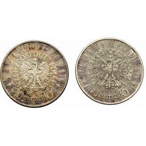 II Republic of Poland, 10 zloty 1935 Pilsudski - set 2 pcs