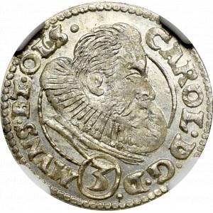 Schlesien, Duchy of Oels, Carl, 3 kreuzer 1615, Oels - NGC MS66