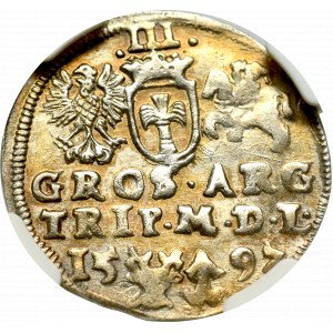 Sigismund III, 3 groschen 1597, Vilnius - NGC AU