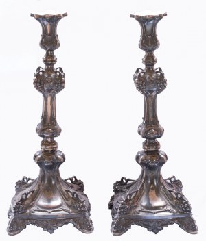 Poland/Russia, Fraget, Pair of candlesticks - silver 1891