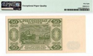 PRL, 50 złotych 1948 A numeracja siedmiocyfrowa ! - PMG 58