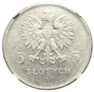 II Republic of Poland, 5 zloty 1930 November Uprising - hybrid obverse of high relief die