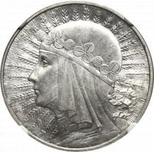 II Republic of Poland, 10 zlotych 1932, Women's Head, London- NGC MS63