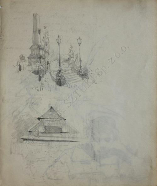 Stanisław Kamocki (1875-1944), Szkice architektury(na odwrociu: Czytająca, 1897)