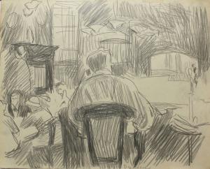 Stanisław Kamocki (1875-1944), Kawiarnia w Dreźnie(ze szkicownika artysty)