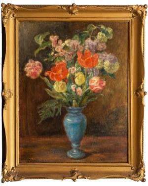 Józef Pankiewicz (1866 Lublin - 1940 Marsylia), Bukiet kwiatów w niebieskim wazonie