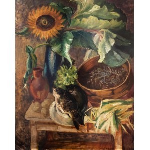 Fryderyk Pautsch (1887 Delatyn - 1950 Kraków), Martwa natura (słoneczniki – girasole, martwa natura, słoneczniki i karpie), 1932 r.