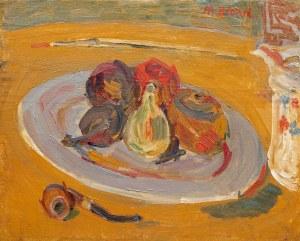 Maurice Blond (1899 Łódź - 1974 Clamart), Martwa natura z talerzem owoców i fajką