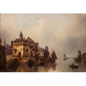 Ludwig Hermann (1812 Greiswald - 1881 Berlin), W miasteczku portowym, 1851 r.