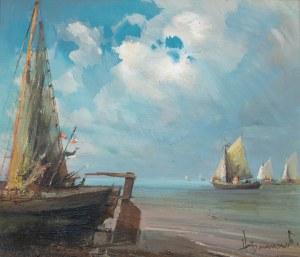 Henryk Baranowski (1932 Starogard Gdański - 2005 Gdynia), Przystań rybacka, 1985 r.