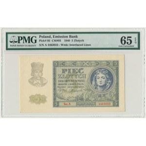 5 złotych 1940 - A - PMG 65 EPQ