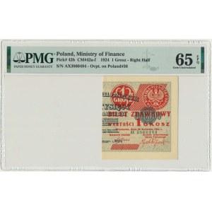 1 grosz 1924 - AX - prawa połowa - PMG 65 EPQ