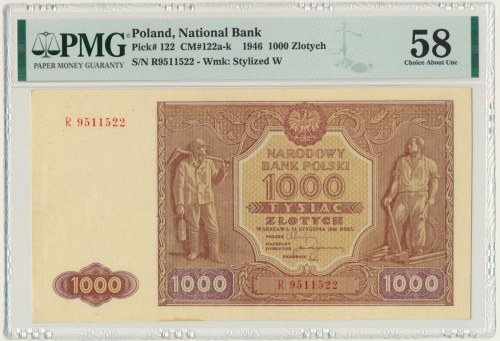 1.000 złotych 1946 - R - PMG 58