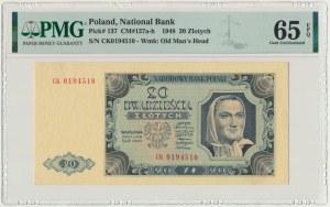 20 złotych 1948 - CK - PMG 65 EPQ