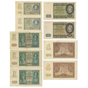 Zestaw, Banknoty okupacyjne z roku 1940 (9 szt.)