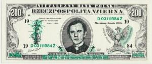 Solidarność, 200 złotych 1985 Niezależny Bank Polski - KŚ. J.Popiełuszko