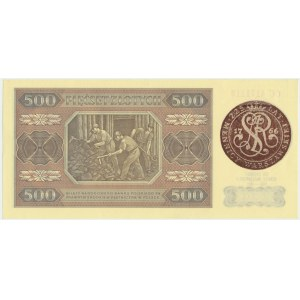 500 złotych 1948 - CC - 225 rocznica Mennicy Warszawskiej - rzadki przedruk