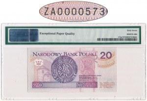 20 złotych 1994 - ZA 0000573 - PMG 67 EPQ - seria zastępcza - niski numer seryjny