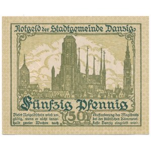 Gdańsk 50 fenigów 1919 - druk zielony