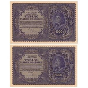 Zestaw 1.000 marek 1919 - II Serja G - (2 szt.)