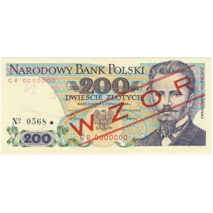 200 złotych 1986 WZÓR CR 0000000 No.0568