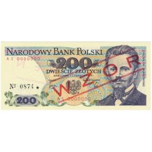 200 złotych 1979 WZÓR AS 0000000 No.0874