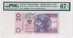 20 złotych 1994 - ZA 0000565 - PMG 67 EPQ - seria zastępcza - niski numer seryjny