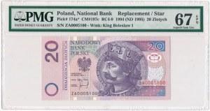 20 złotych 1994 - ZA 0005100 - PMG 67 EPQ - seria zastępcza