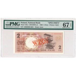 2 złote 1990 WZÓR A 0000000 - PMG 67 EPQ