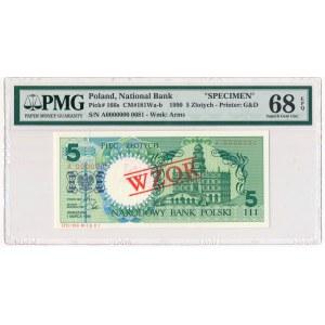 5 złotych 1990 WZÓR A 0000000 - PMG 68 EPQ