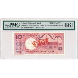 10 złotych 1990 WZÓR A 0000000 - PMG 66 EPQ