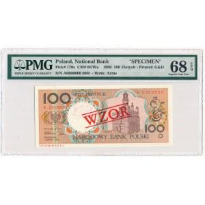 100 złotych 1990 WZÓR A 0000000 - PMG 68 EPQ
