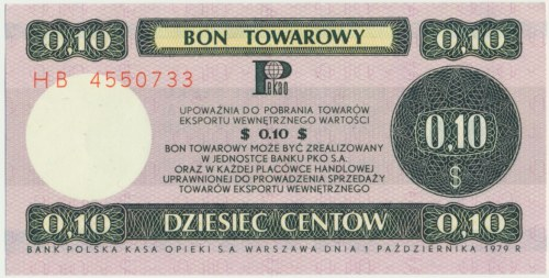 Pewex 10 centów 1979 - HB - mały