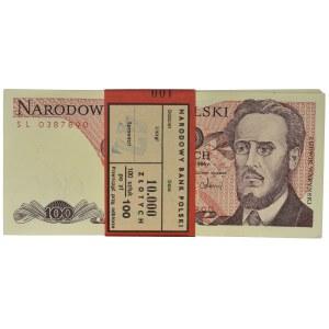Paczka bankowa 100 złotych 1986 - SL - (100 szt.)