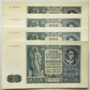 Zestaw 50 złotych 1941 (4 szt.)
