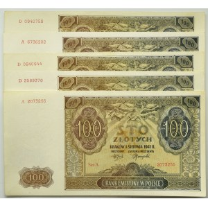 Zestaw 100 złotych 1941 (5 szt.)