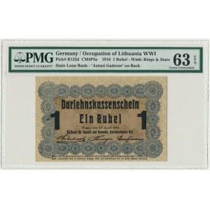 Poznań 1 rubel 1916 krótka klauzula (P3c) - PMG 63 EPQ