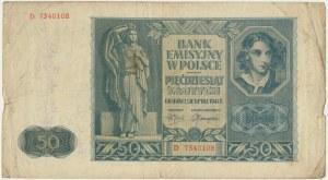 50 złotych 1941 - D - z podpisami powstańców