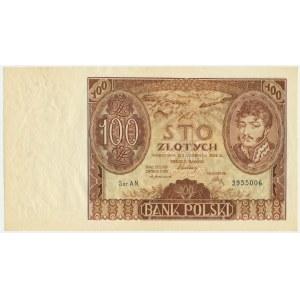 100 złotych 1932 - Ser.AN. - znw. kreski na dole
