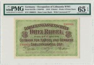 Poznań 3 ruble 1916 - U - krótka klauzula - PMG 65 EPQ