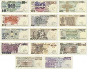 Zestaw banknotów PRL 1977 - 1993 (14 szt.)