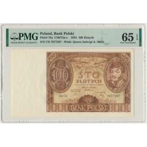 100 złotych 1934 - Ser.C.D. - PMG 65 EPQ