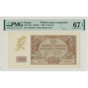 10 złotych 1940 - L - London Counterfeit - PMG 67 EPQ