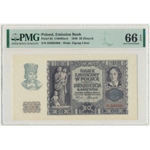 20 złotych 1940 - H - PMG 66 EPQ