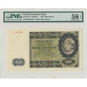 500 złotych 1940 - B - PMG 58 EPQ