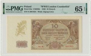 10 złotych 1940 - N. - PMG 65 EPQ z dopiskiem