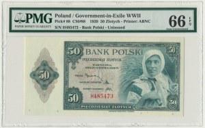 ABNCo, 50 złotych 1939 - H - PMG 66 EPQ